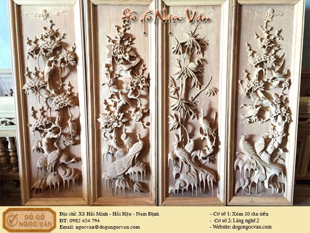 tranh tứ quý gỗ hương