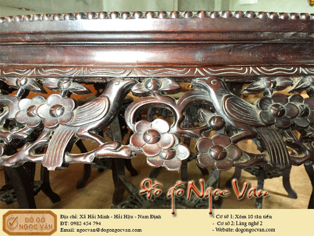 Bộ bàn ăn gỗ gụ đục mai