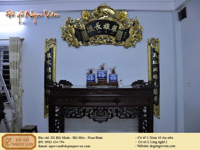 Bộ bàn thờ gia tiên thiếp vàng