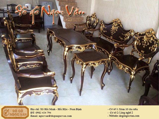 Bộ bàn ghế Lu Y thiếp vàng Ý