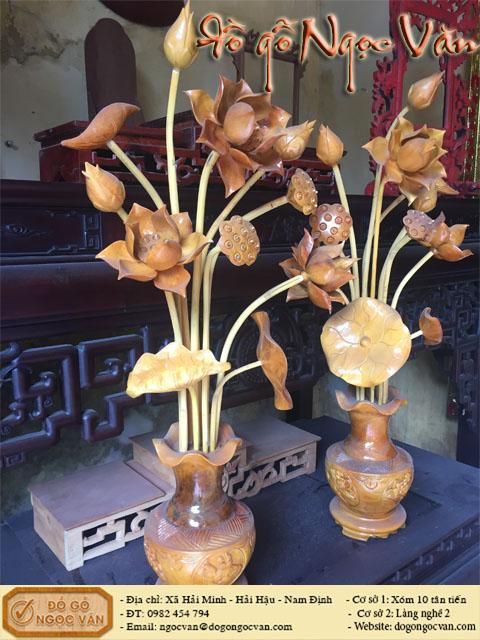 Lục bình hoa sen gỗ mít