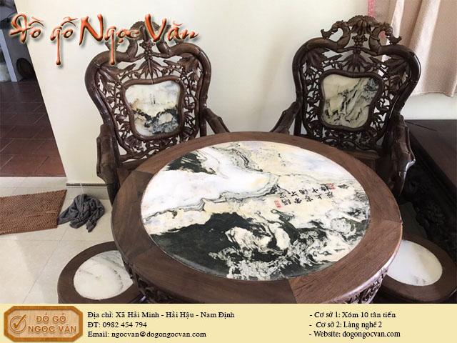 Salong trúc bàn tròn gỗ gụ