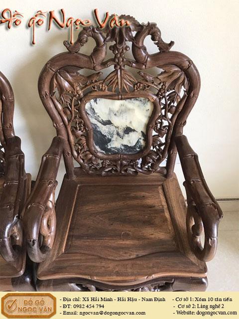 Salong trúc bàn tròn gỗ gụ đẹp