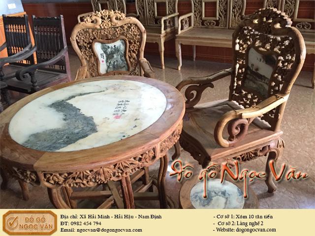 Bộ salon trúc mai bàn tròn