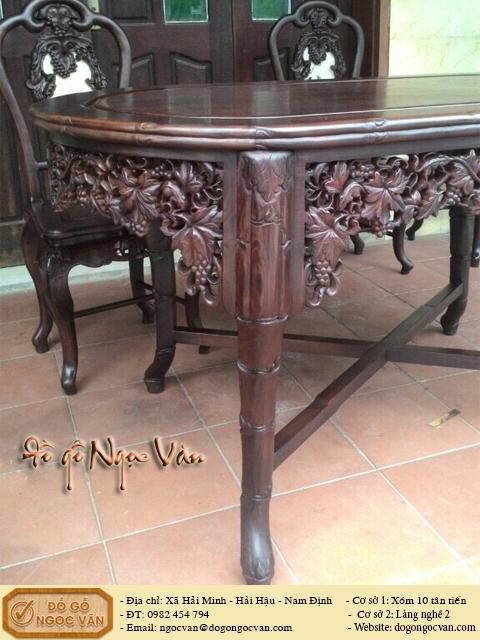 Bộ bàn ăn trúc nho gỗ Cẩm Lai