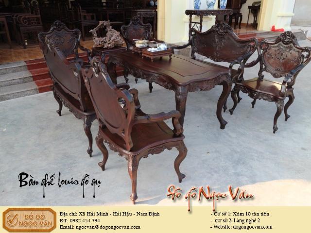 Bộ bàn ghế Louis gỗ gụ phong cách pháp cổ điển