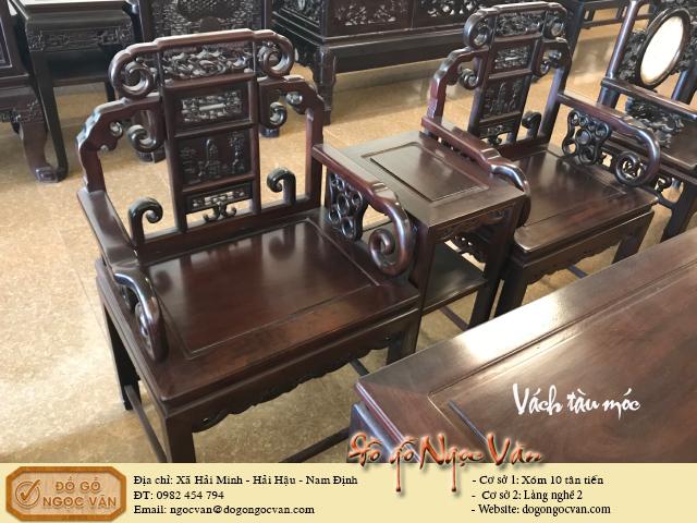Bàn ghế vách tàu gỗ gụ