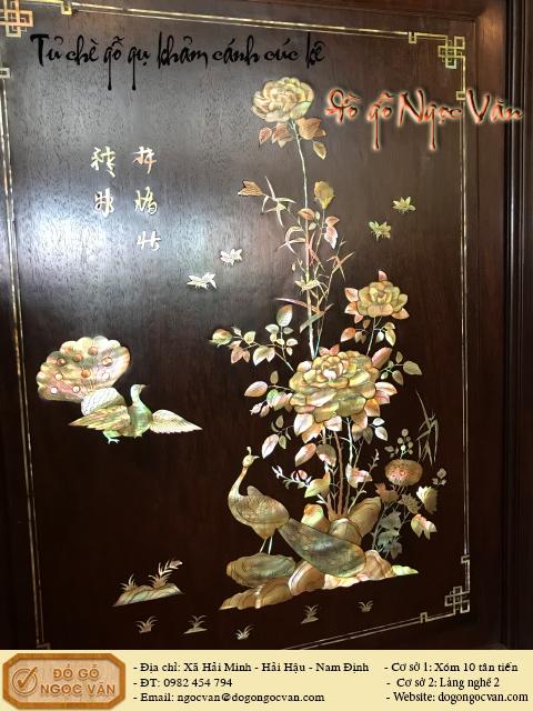 Tủ chè gỗ gụ bệ ngũ phúc khảm Cúc Kê