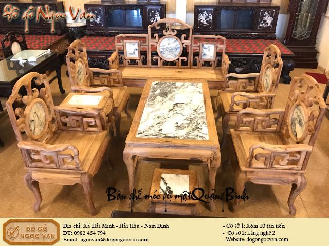 Bàn ghế móc gỗ gụ mật Quảng Bình