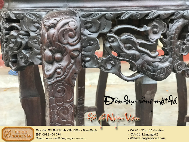 Đôn trang trí gỗ gụ đục rồng