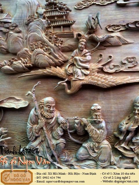 Tranh gỗ gụ đục bát tiên
