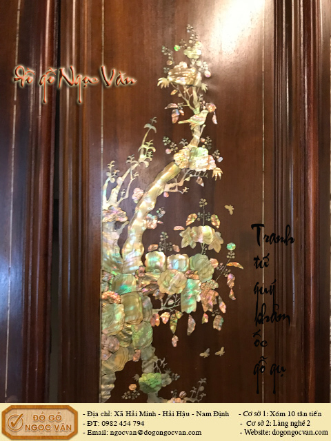 Tranh tứ quý gỗ gụ khảm ốc