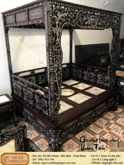 Giường long sàng riễu trúc khảm ốc
