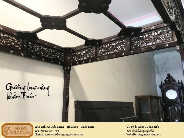 Giường long sàng gỗ gụ đục trúc khảm ốc tứ diện