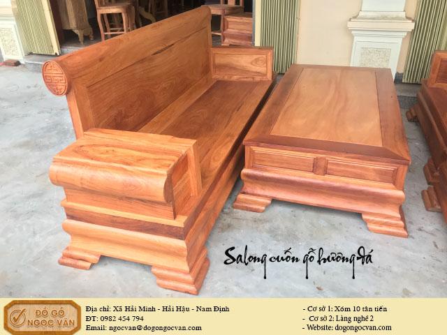 Salong hộp tựa cuốn gỗ hương đá