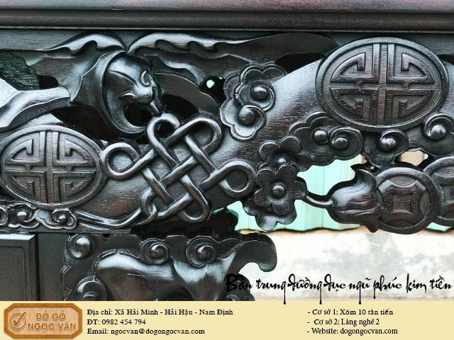 Bàn trung đường ngũ phúc ngậm kim tiền gỗ gụ