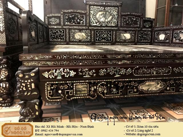 Giường ngũ sơn khảm ốc tứ diện