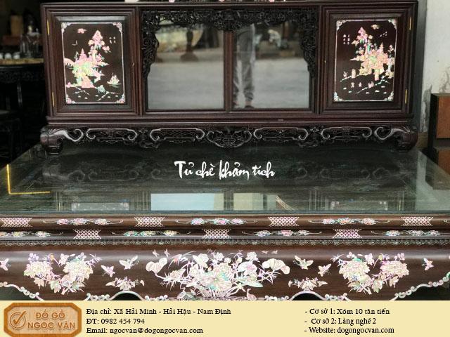 Tủ chè gỗ gụ khảm tích