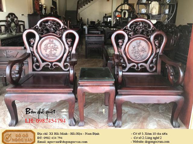 Bàn ghế guột gỗ gụ đục tứ quý