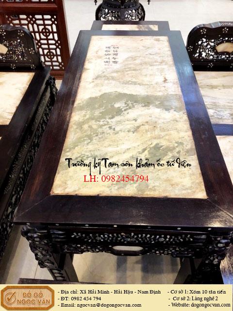 Trường kỷ tam sơn gỗ gụ khảm ốc tứ diện