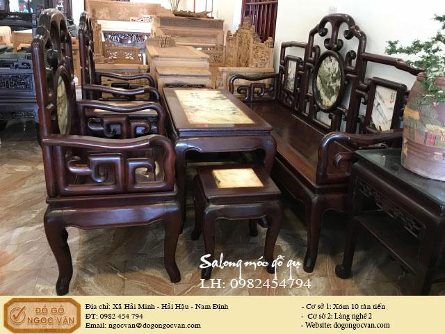 Bàn ghế móc gỗ gụ