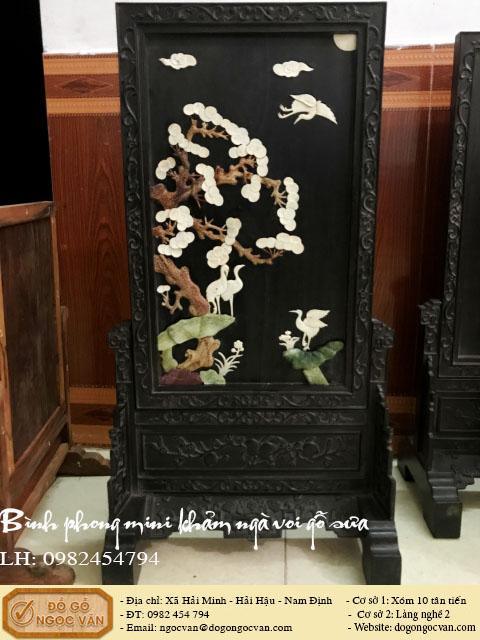 Bình phong mini khảm ngà voi gỗ sưa