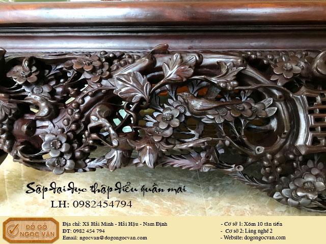 Sập đại gỗ gụ đục thập điểu quần mai