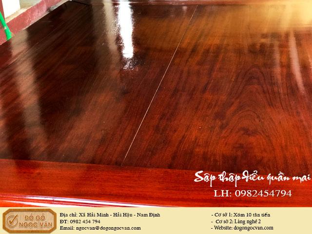 Sập thập điểu quần mai gỗ gụ mặt 2 lá