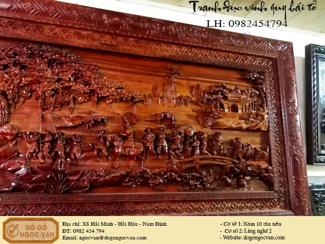 Tranh gỗ gụ đục vinh quy bái tổ