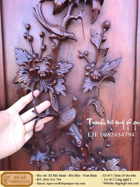 Tranh tứ quý gỗ gụ, tranh tùng cúc trúc mai, tranh tứ mùa