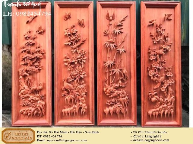 Tranh tứ quý gỗ hương đỏ, tranh tùng cúc trúc mai