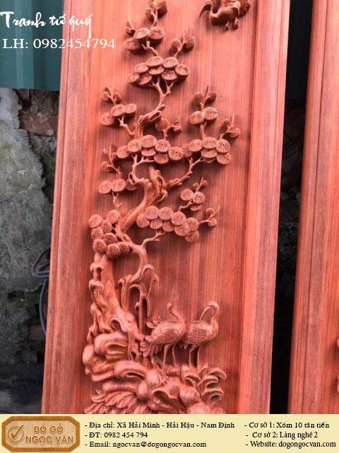 Tranh tứ quý gỗ hương đỏ, tranh gỗ gụ, gỗ pơ mu, gỗ hương