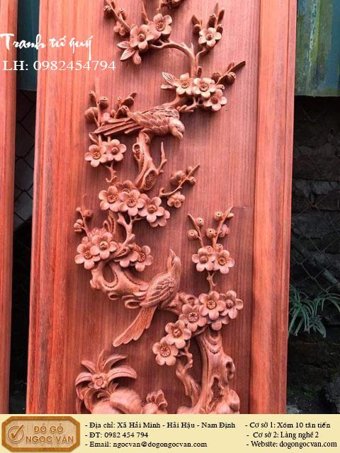 Tranh tứ quý gỗ hương đỏ, tranh tứ mùa tùng cúc trúc mai