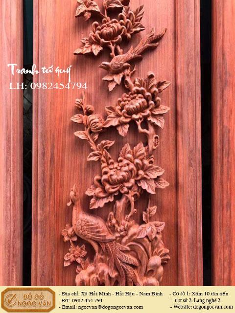 Tranh tứ quý gỗ hương đỏ
