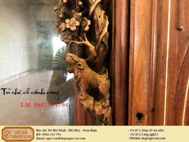 Tủ chè cổ gỗ gụ ta, cánh cong khảm trai