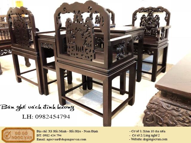 Bàn ghế vách đỉnh hương gỗ gụ