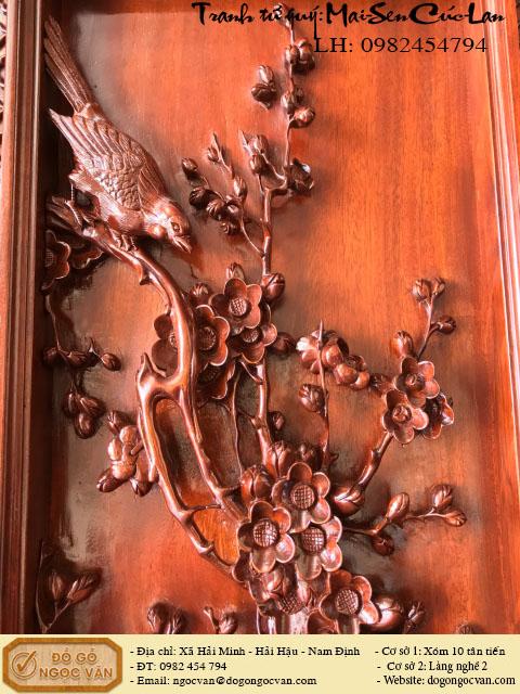 Tranh tứ quý đục Mai Sen Cúc Hồng, tranh gỗ đục tứ quý