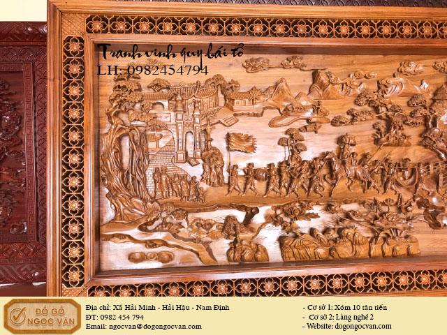 Tranh gỗ gụ đục tích vinh quy bái tổ