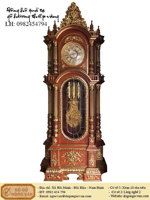 Đồng hồ quả tạ j Đức vỏ gỗ hương
