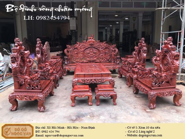 Bộ đỉnh rồng chân móng gỗ hương Lào