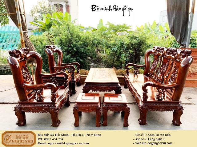bộ salong Minh đào gỗ gụ