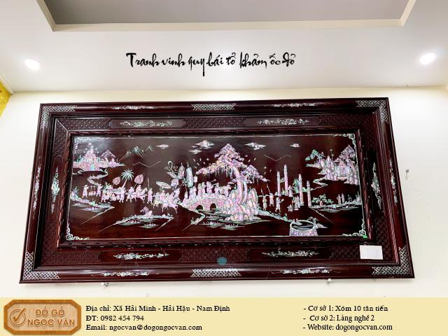 tranh vinh quy bái tổ khảm ốc đỏ gỗ gụ